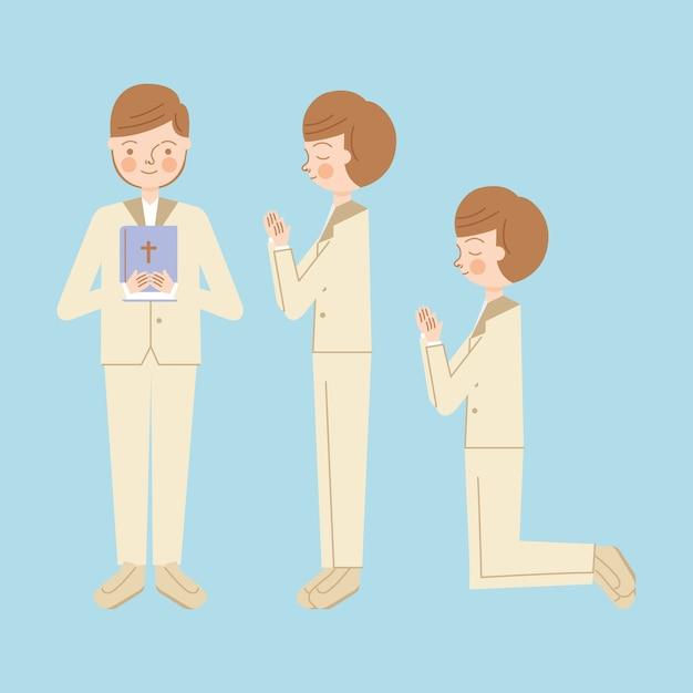 Kind junge mit bibel Premium Vektoren