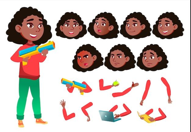 Kind mädchen charakter. afrikanisch. erstellungskonstruktor für animation. gesichtsemotionen, hände. Premium Vektoren