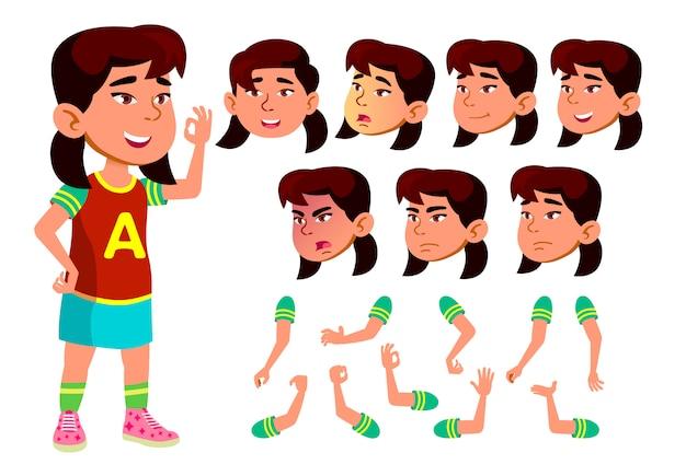Kind mädchen charakter. asiatisch. erstellungskonstruktor für animation. gesichtsemotionen, hände. Premium Vektoren