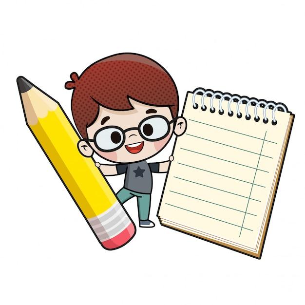 Kind mit einem bleistift und einem notizbuch Premium Vektoren
