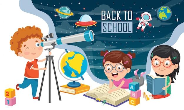 Kind mit teleskop für die astronomische forschung Premium Vektoren