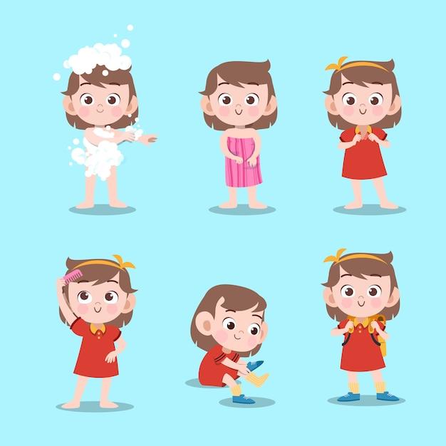 Kind nehmen die lokalisierte badvektorillustration Premium Vektoren