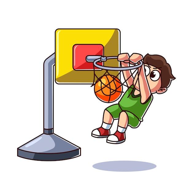 Kind spielt basketball Premium Vektoren
