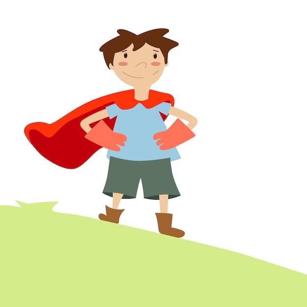 Kind träumt davon, ein superheld zu sein Kostenlosen Vektoren