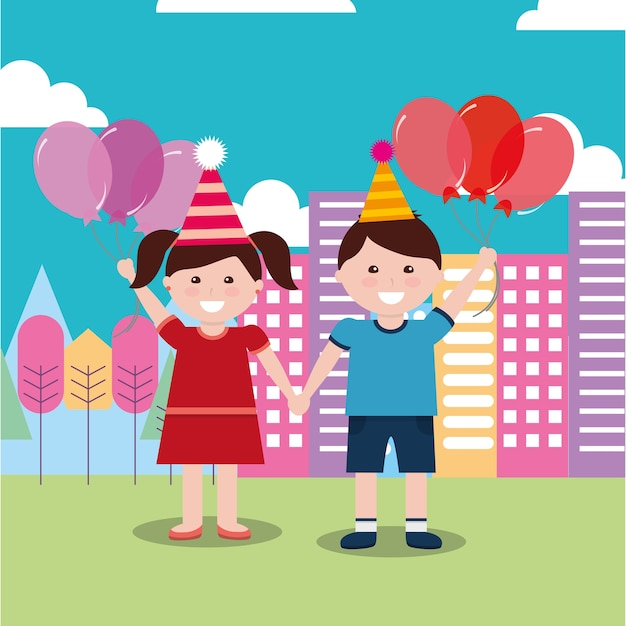 Kinder alles gute zum geburtstag feier mädchen und jungen Premium Vektoren