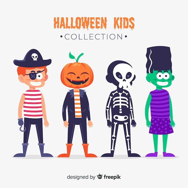 Kinder als monster für halloween flache bauform verkleidet Kostenlosen Vektoren
