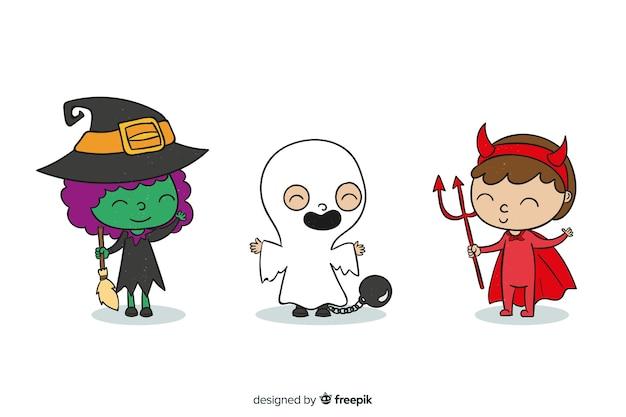 Kinder als monster für halloween verkleidet Kostenlosen Vektoren