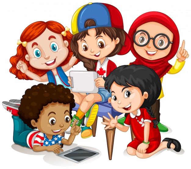 Kinder arbeiten in der gruppe Kostenlosen Vektoren