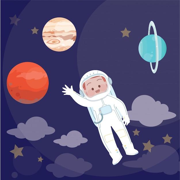 Kinder-astronauten-vektor-illustration Premium Vektoren