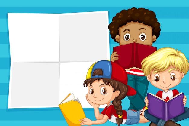 Kinder auf hinweisvorlage Kostenlosen Vektoren