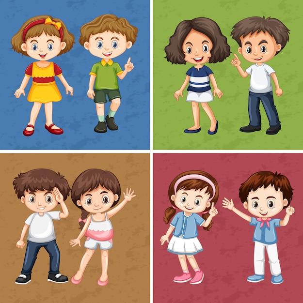 Kinder auf unterschiedlichem farbhintergrund Kostenlosen Vektoren