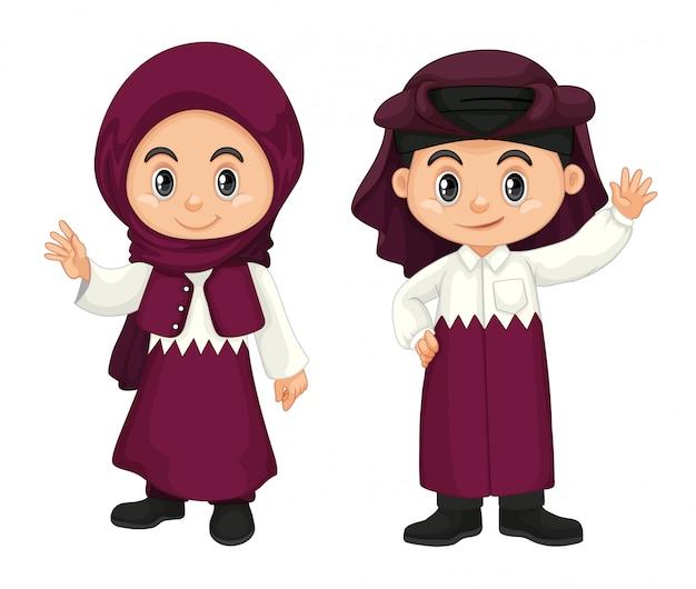 Kinder aus katar in lila tracht Kostenlosen Vektoren