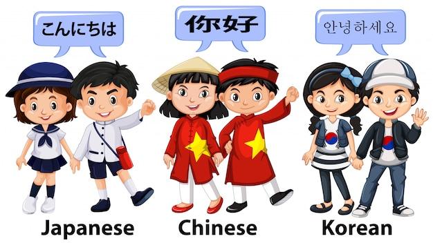 Kinder aus verschiedenen ländern in asien Kostenlosen Vektoren