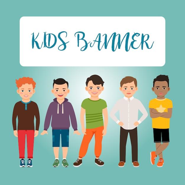 Kinder banner mit jungen Premium Vektoren