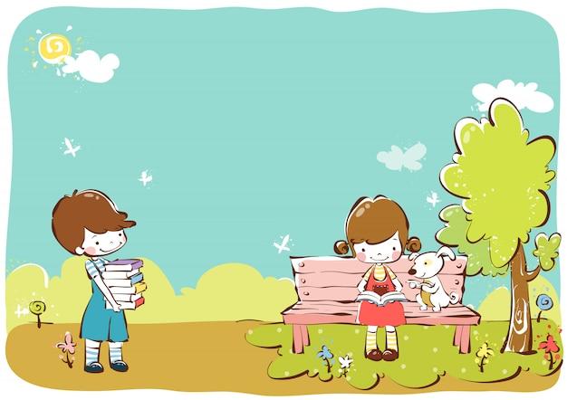 Kinder clipart vektor design illustration vorlage Premium Vektoren