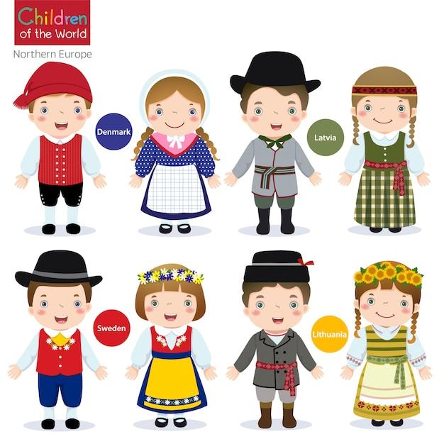 Kinder der welt-dänemark-lettland-schweden-litauen Premium Vektoren