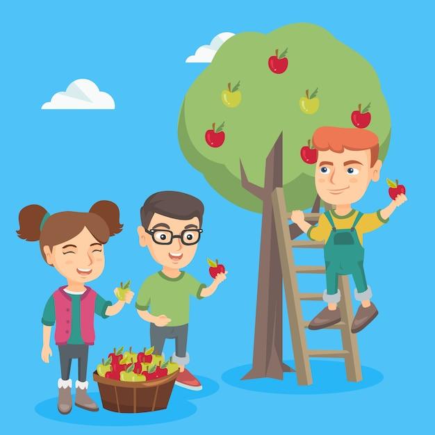 Kinder, die äpfel im apfelgarten ernten. Premium Vektoren