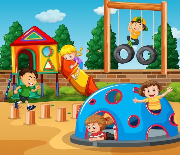 Kinder, die an der spielplatzillustration spielen Premium Vektoren