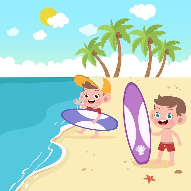 Kinder, die auf der strandillustration spielen Premium Vektoren