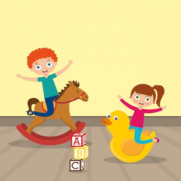 Kinder, die cartoon spielen Premium Vektoren
