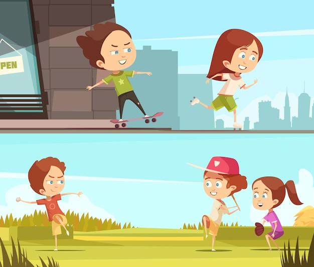 Kinder, die draußen horizontale fahnen des sports tun Kostenlosen Vektoren