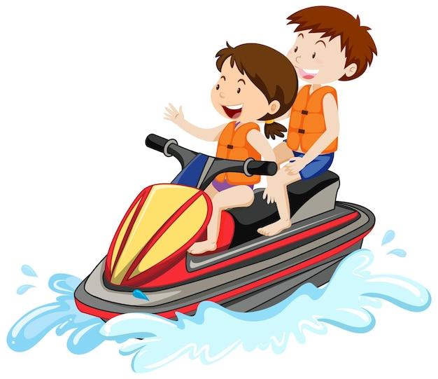 Kinder, die einen jet-ski lokalisiert auf weißem hintergrund fahren Kostenlosen Vektoren