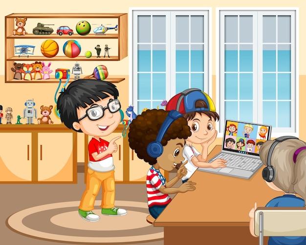 Kinder, die einen laptop verwenden, um videokonferenzen mit freunden in der raumszene zu kommunizieren Premium Vektoren
