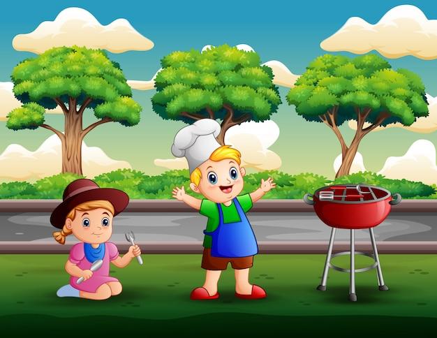 Kinder, die grillen am hinterhof haben Premium Vektoren
