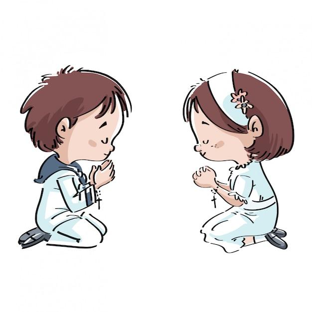 Kinder, die in der gemeinschaft beten Premium Vektoren