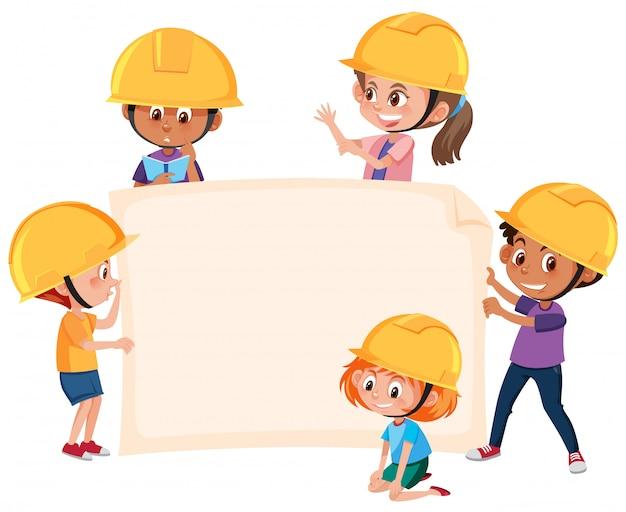 Kinder, die ingenieurhutfahne tragen Premium Vektoren