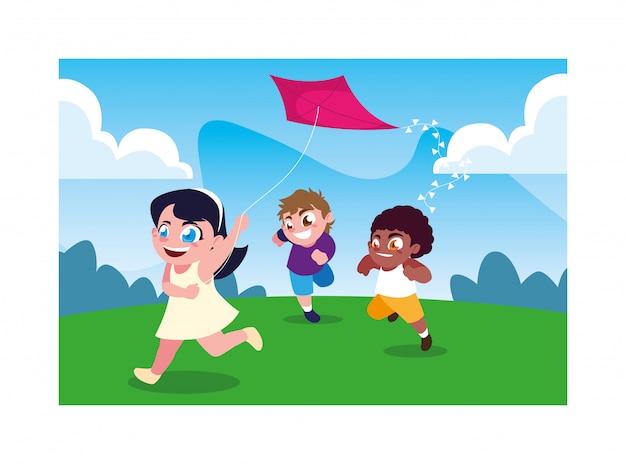 Kinder, die mit einem drachen lächeln und spielen Premium Vektoren