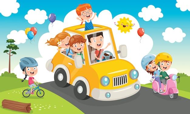 Kinder, die mit einem lustigen auto reisen Premium Vektoren