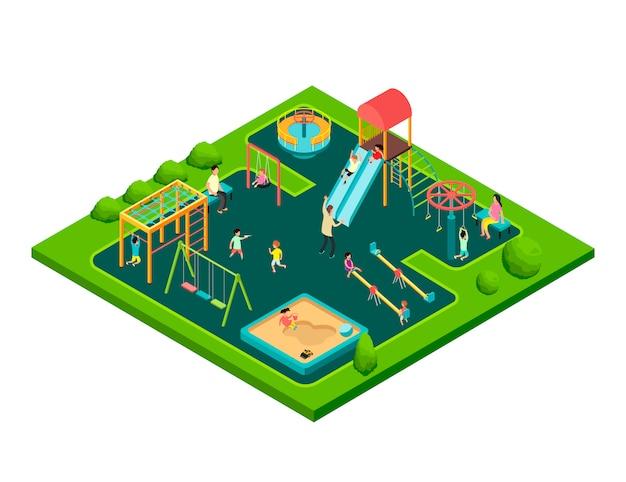 Kinder, die mit eltern auf kinderspielplatz mit spielausrüstung spielen. isometrischer karikaturvektor mit kleinen leuten 3d Premium Vektoren