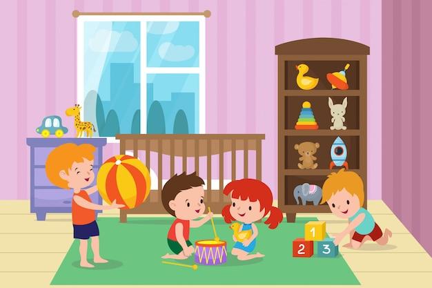 Kinder, die mit spielwaren im spielzimmer der kindergartenvektorillustration spielen Premium Vektoren