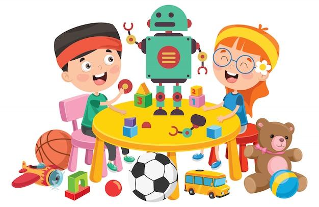 Kinder, die mit verschiedenen spielwaren spielen Premium Vektoren