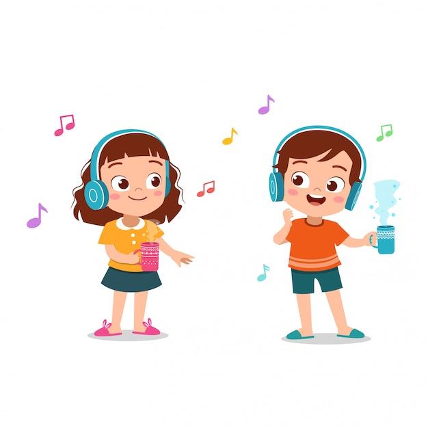 Kinder, die musikillustration hören Premium Vektoren