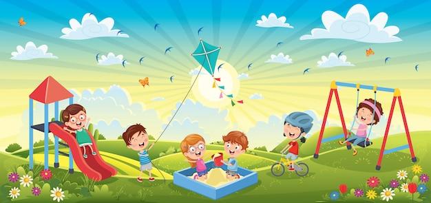 Kinder, die spaß an der frühlingslandschaft haben Premium Vektoren
