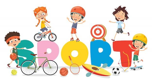 Kinder, die sport machen Premium Vektoren