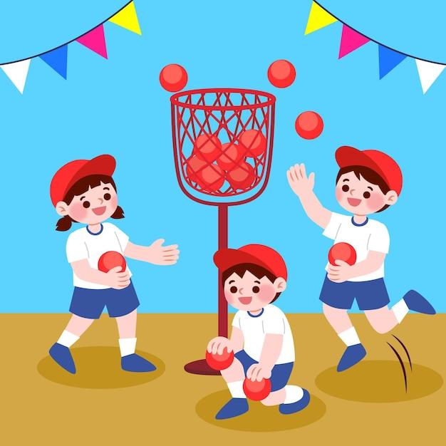 Kinder, die undoukai sport spielen Kostenlosen Vektoren