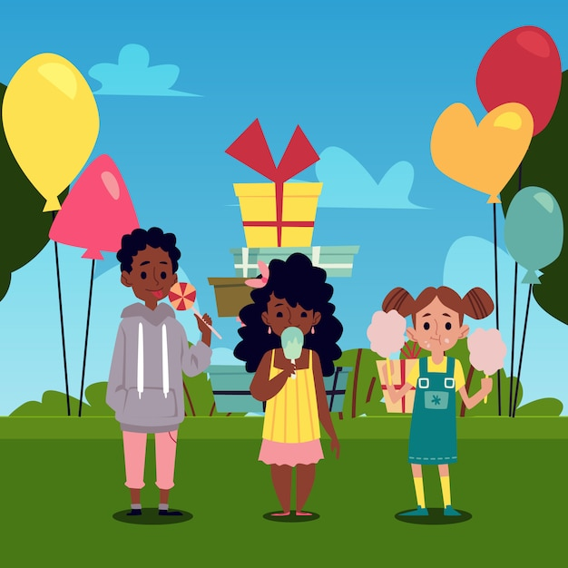 Kinder essen süßigkeiten auf dem park mit luftballons flache vektorillustration. Premium Vektoren