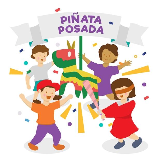 Kinder feiern posada Kostenlosen Vektoren
