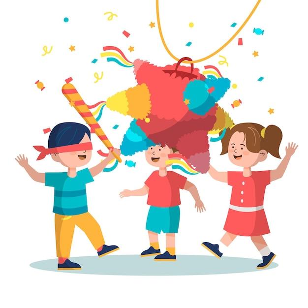 Kinder feiern posadas Kostenlosen Vektoren