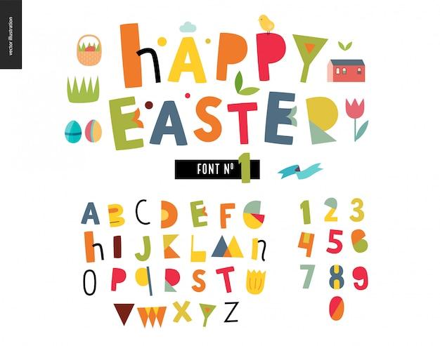 Kinder flache alphabet festgelegt. frohe ostern Premium Vektoren
