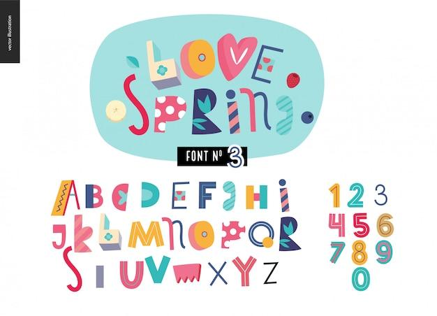 Kinder flache alphabet festgelegt. liebe den frühling Premium Vektoren