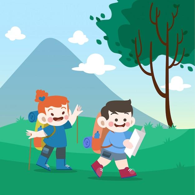 Kinder gehen zur bergvektorillustration Premium Vektoren