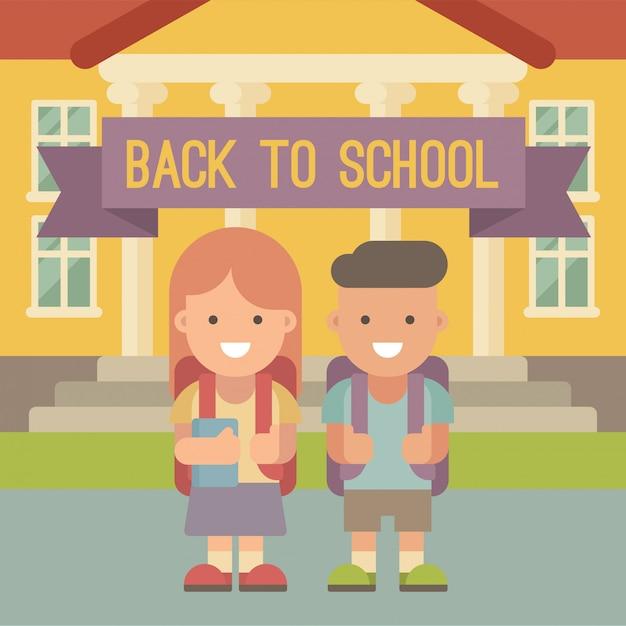 Kinder gehen zur schule. ein junge und ein mädchen mit den rucksäcken, die vor schulgebäude stehen. flache darstellung. zurück zur schule Premium Vektoren