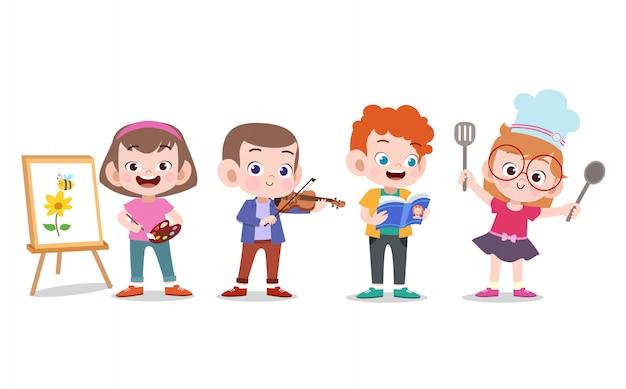 Kinder hobbys Premium Vektoren