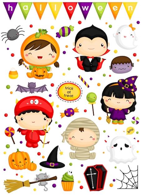 Kinder im netten halloween-kostüm-vektorsatz Premium Vektoren
