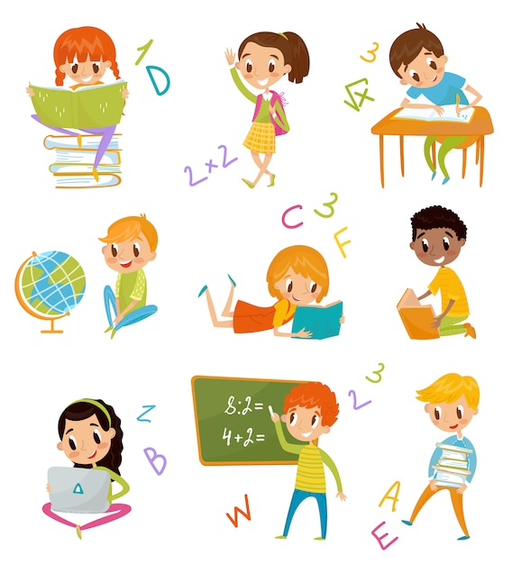 Kinder im schulset, süße jungen und mädchen im unterricht in geographie, literatur, mathematik illustrationen auf weißem hintergrund Premium Vektoren