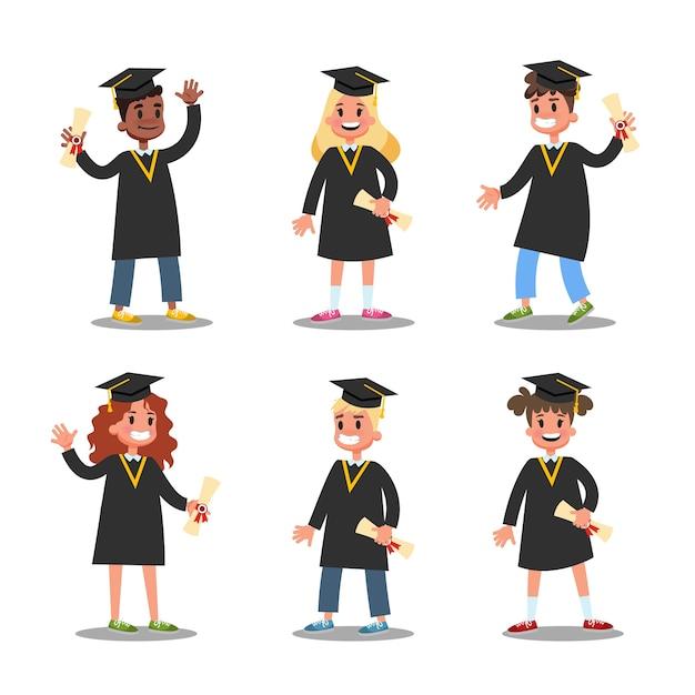 Kinder im schwarzen abschlusskleider-set. idee von bildung und